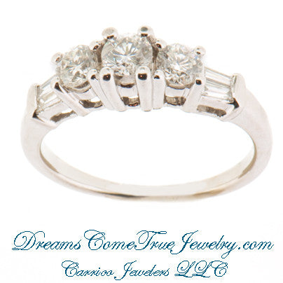 1.03 CTW 3 Diamond Past Present Future 14K Gold Ring