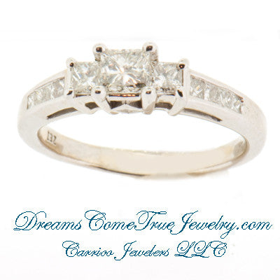 0.73 CTW 3 Princess Diamond Past Present Future 14K Gold Ring