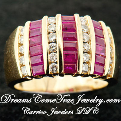 14K Gold Ladies Ruby and Diamond Ladies Custom Ring