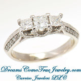 14K Gold 1.35 CTW Ladies 3 Princess Cut Diamond Past Present Future Ring