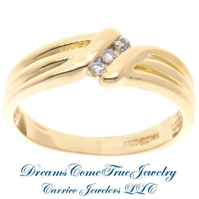 0.15 CTW 3 Diamond Past Present Future 14K Gold Men's Ring