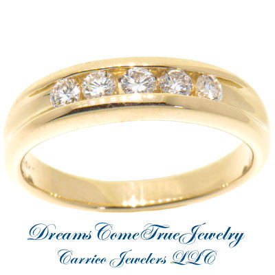 0.55 CTW 5 Diamond 14K Yellow Gold Band