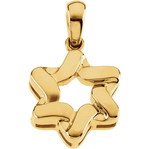 14K White or Yellow Star of David Pendant