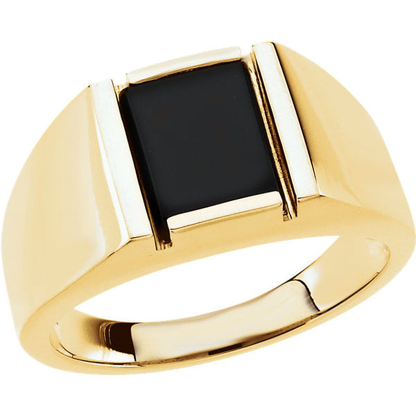 Gents Ring Yellow Gold 14K Onyx Genuine