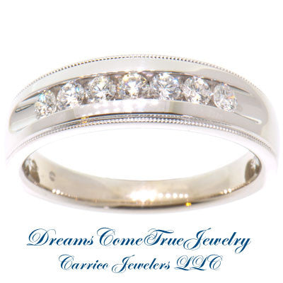 14K White Gold 0.56 CTW 7 Diamond  Band