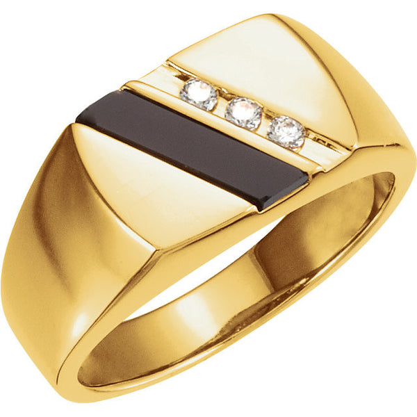Men's Ring Yellow Gold 14K Onyx Genuine with Diamond Accent