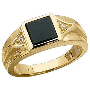 14K Yellow Gold Onyx Genuine with Diamond Accents for Men