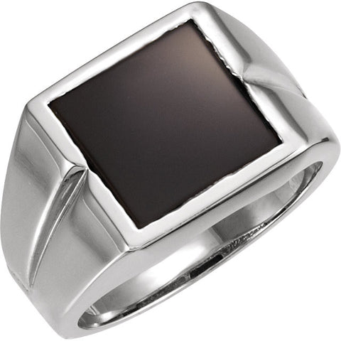 14K White Gold Genuine Onyx 8.00 MM Stone Ring for Men