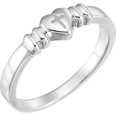 14K Gold or Sterling Silver Heart with Cross Design Chastity Ring