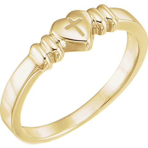 10K Gold Chastity Ring Heart with Cross Design