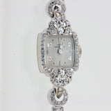 Vintage Ladies 1950 -1960's 96 Diamond 14K White Gold Watch