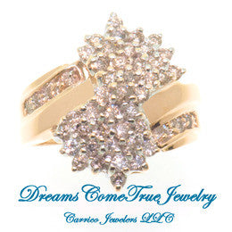 14K Gold 1.44 CTW Ladies Diamond Cluster Ring