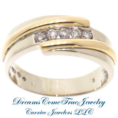0.55 CTW 5 Diamond 14K Two Tone Gold Band