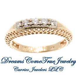 14K Yellow Gold Ladies 5 Diamond Filigree Ring