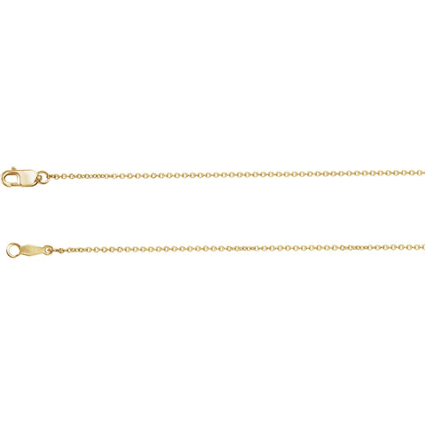 14K Gold 0.50mm cable Chain with Lobster Claw