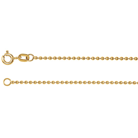 14K Solid Gold 1.50mm Bead Chain Spring Ring Closure