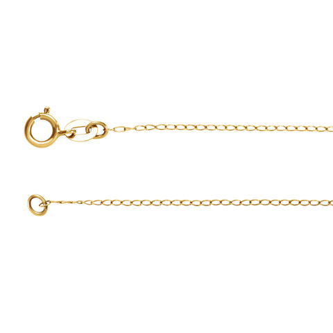 14K Solid Gold 1.00mm Curb Chain Spring Ring Closure
