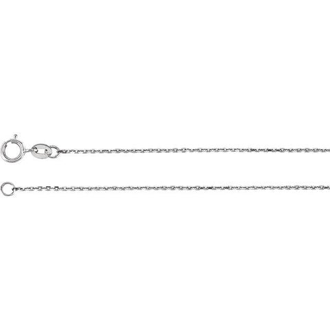 Cable Chain Diamond Cut Sterling Silver 1 mm Wide