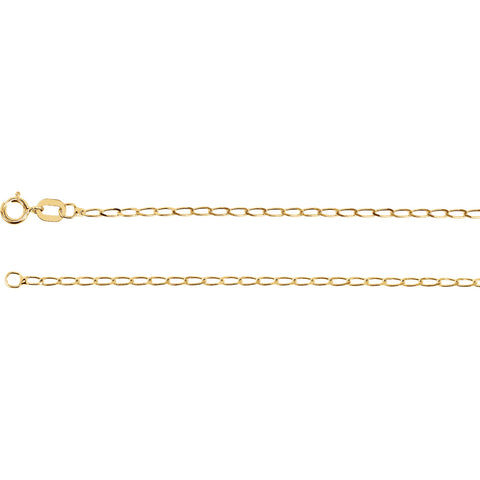 14k Solid Gold 1.25mm Curb Chain Spring Ring Closure