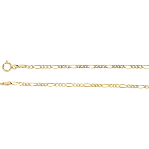 14K Yellow Gold Solid Figaro Chain