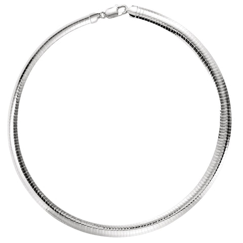 Sterling Silver Domed Omega Chain 7.25mm Width