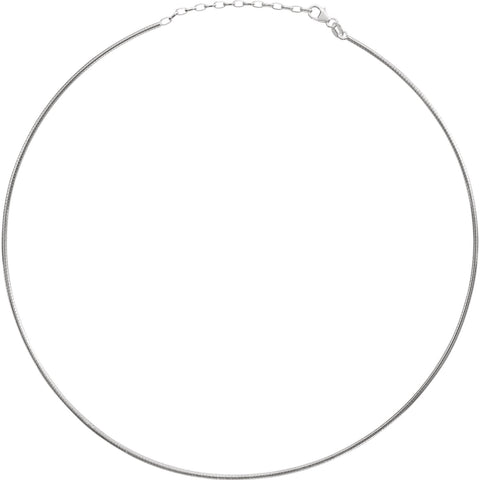"Sterling Silver 2mm Adjustable Round Omega 16-18"" Chain"