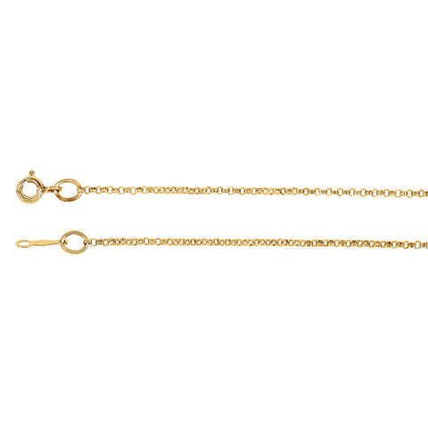 14K Solid Gold 1.5mm Rolo Chain with Spring Ring