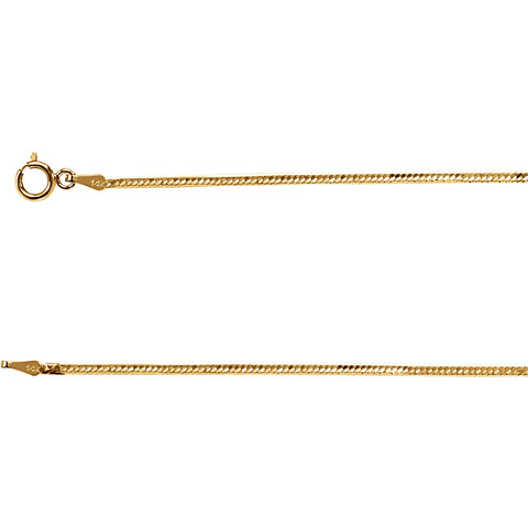 14K Solid Gold 1.5mm Flexible Herringbone Chain