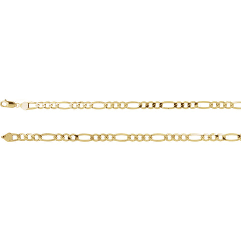 14K Solid Gold 5.5 or 6.5mm Figaro Chain with Lobster Claw Made to Order.