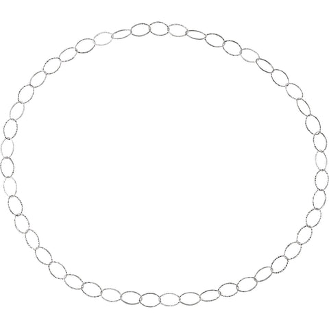 Sterling Silver Endless Chain, 36 Inch 30mm Wide