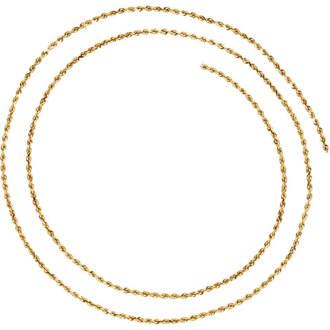 14K Solid Gold 1.6mm Diamond-Cut Rope Chain with Lobster Clasp