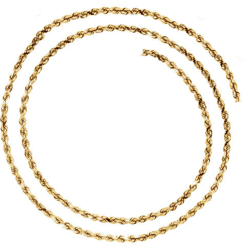 14K Heavy Gold 2.8 mm Rope Chain with Lobster Claw