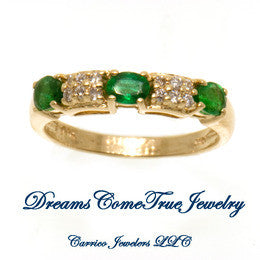 14K Gold Ladies Emerald and Diamond Ring