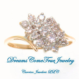 14K  Yellow Gold Ladies Diamond Cluster Ring