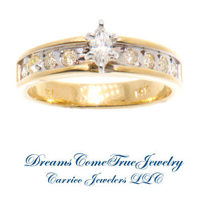 0.71 ctw Marquise Diamond 14K Yellow Gold Engagement Ring