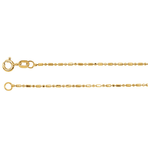 14K Yellow Gold Solid Bead Chain