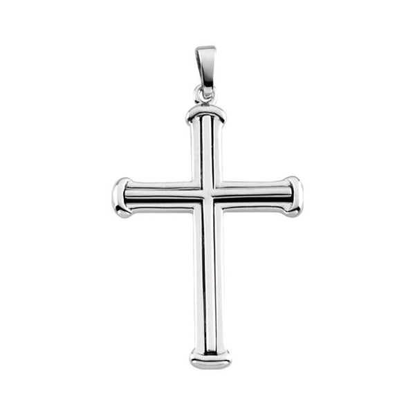 14K White Gold Cross Pendant 34.75 x 25mm