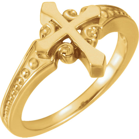 Purity Cross Ring White or Yellow  14k Gold or Sterling Silver