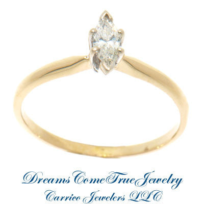 0.21 Carat Marquise Diamond Engagement Ring 14K Gold