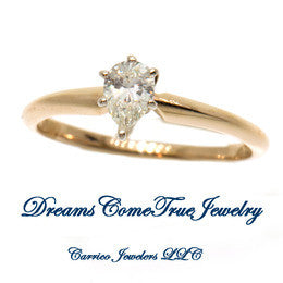 14K Gold 0.28 Carat Pear Shape Diamond Engagement Ring