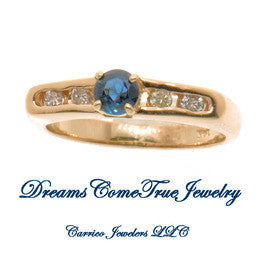 14K Gold Ladies Diamond and Sapphire Ring