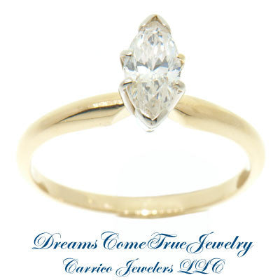 0.65 Carat Marquise Diamond Engagement Ring 14K Gold