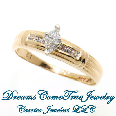 0.12 CTW Marquise Illusion Diamond Engagement Ring 10K Gold