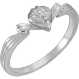 "Chastity Ring ""Gift Wrapped Heart"" in White or Yellow 14K Gold"