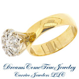 14K Yellow Gold 0.50 ctw Ladies 8 Diamond Cluster Ring
