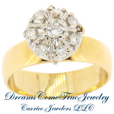 0.50 ctw Ladies 8 Diamond Cluster Ring 14K Yellow Gold