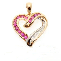 10K Diamond and Ruby Heart Pendant