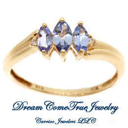 10K Ladies Marquise Blue Topaz Ring