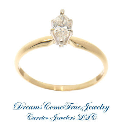 14K Gold 0.38 Carat Marquise Diamond Engagement Ring