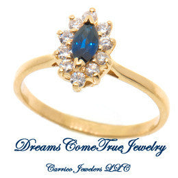 14K Gold Sapphire and Diamond Ring